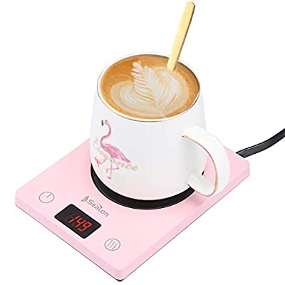 Coffee Mug Warmer for Office Desk Use Electric Beverage Warmer With Three Temperature Settings Display,Coffee Warmer Plate For Cocoa Tea Water Milk with Auto Shut (Pink)