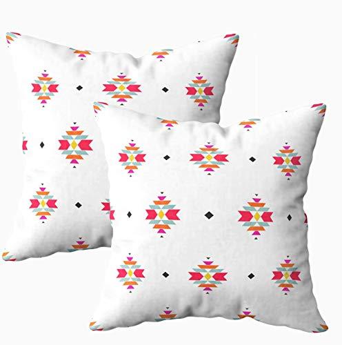 Fundas de almohada suaves, diseño geométrico étnico americano coloridas, fundas de almohada de 45,7 x 45,7 cm, decoración del hogar, fundas de almohada con cremallera para sofá