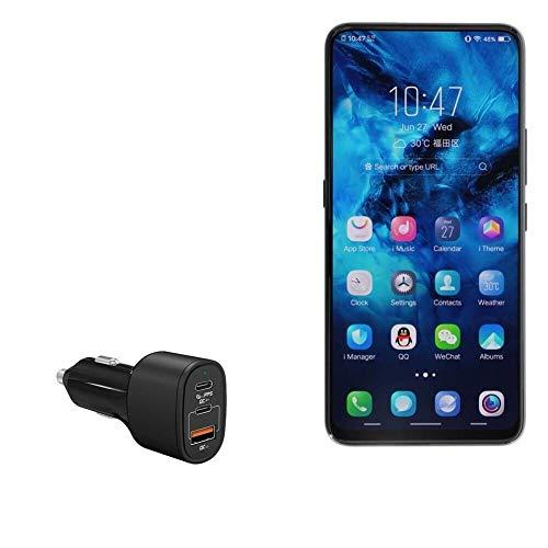 Carregador de carro Xiaomi Black Shark Helo, BoxWave [SwiftCharge PD QC4.0 Plus (60W)] Carregador de carro PD QC4.0 de alta potência para Xiaomi Black Shark Helo - Preto Jet Black