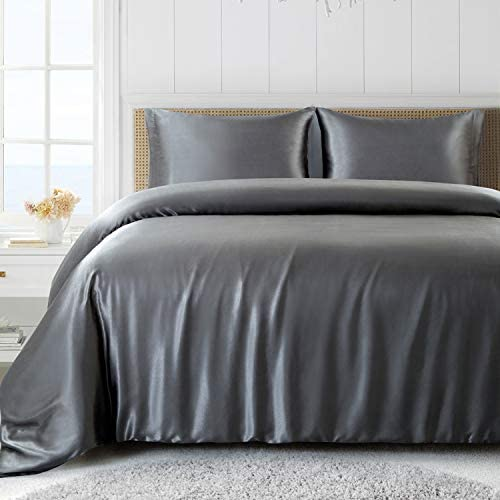 Satin Duvet Cover Set Full Queen Size Gray Silk Duvet Cover Soft Silky Satin Bed Set with Zipper product image
