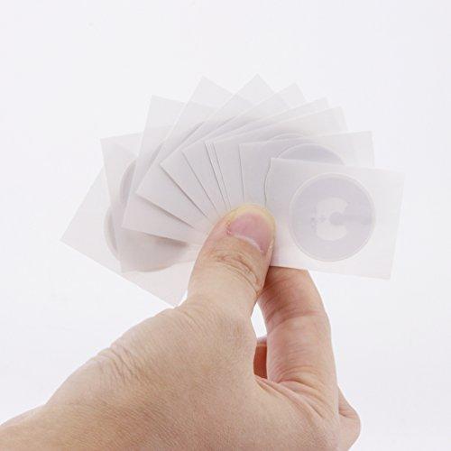 Timeskey NFC 50 x NFC Tags | NXP Chip NTAG216 | 888 Byte Speicherkapazität |Selbstklebende Runde und Transparente Etiketten | NFC 216 Sticker Kompatibel Mit Android Smartphone Apps