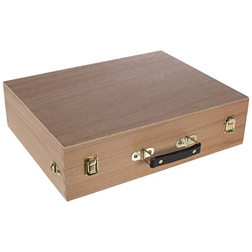 Artist's Supply Painting Sketch Box, Hard Beechwood Extra Large All Media Storage Case