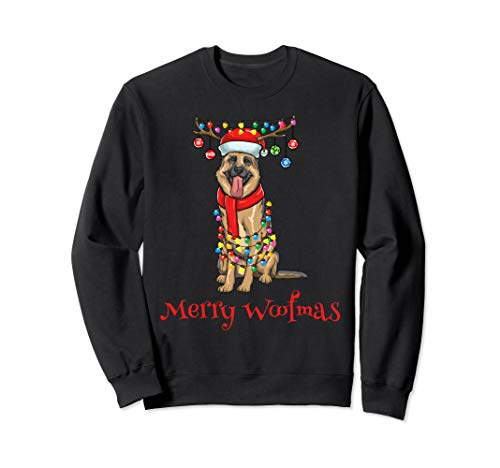 German Shepherd Dog Holiday Lights Sweatshirt