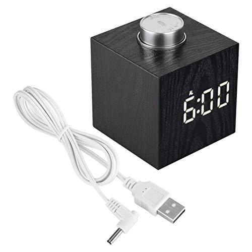 FOLOSAFENAR Función de repetición Reloj LED Termómetro de Despertador de Escritorio Similar a la Madera, para Hotel, para Oficina(White Light)