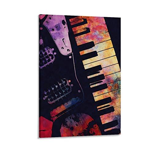haocaitou Retro Klavier und Gitarre, Kunstdruck auf Leinwand, modernes Design, 20 x 30 cm