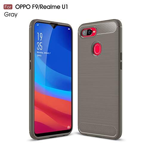 Oppo Realme U1/F9 Case, Silicone Leather[Slim Thin] Flexible TPU Protective Case Shock Absorption Carbon Fiber Cover for Oppo Realme U1/F9 Case (Gray)
