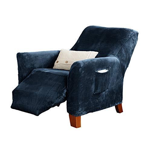 Great Bay Home Velvet Plush Stretch Recliner Slipcover. Velvet Recliner Furniture Protector, Soft Anti-Slip, High Stretch (Recliner, Dark Denim Blue)