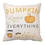 Kissenday 18X18 Inch Pumpkin Spice and Everything Nice Happy Autumn Quote Saying Cotton Polyester Decorative Home Decor Sofa Couch Desk Chair Bedroom Car Cute Birthday Gift Square Throw Pillow Case