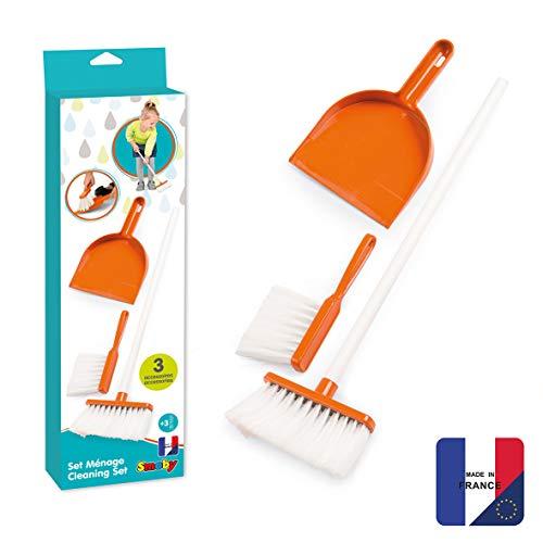 Smoby 330313 - Reinigungs - Set - Putzen wie die Großen, mit Schaufel, Handbesen und einem großen Kehrbesen, Putzset für Kinder ab 3 Jahren