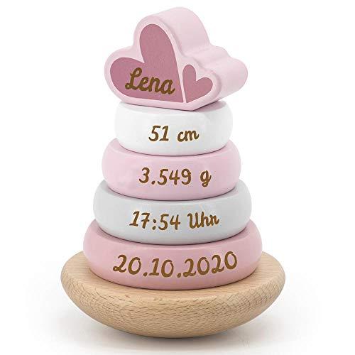 Elefantasie Stapelturm aus Holz mit Namen und Geburtsdaten graviert rosa