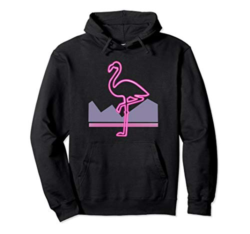 80s Retro Pink Flamingo Hoodie for Men or Women, 5 Colors, S to 2XL
