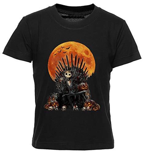 Jack Skellington Se Sienta En Trono Camiseta Niño Niña Niños Negra T-Shirt Boys Girls Kids Black