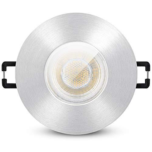 linovum ISASO Einbaustrahler LED Alu gebürstet IP65 für Bad & Außen - inkl. LED GU10 3W warmweiß 230 Volt - Einbauspot rund