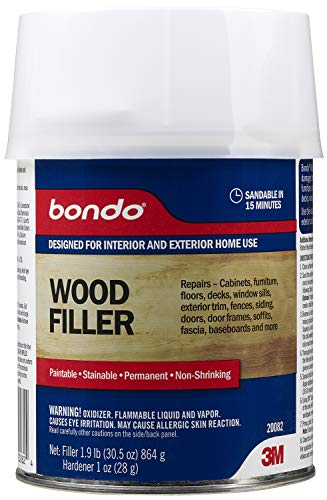 Bondo Home Solutions Wood Filler, Sandable in 15 min, 1.9 lbs with 1 oz Hardener