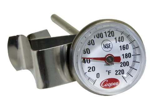 """Cooper-Atkins 1236-70-1 Bi-Metals Espresso Milk Frothing Thermometer with Clip, 1"""" Dial and 5"""" Shaft Length"""