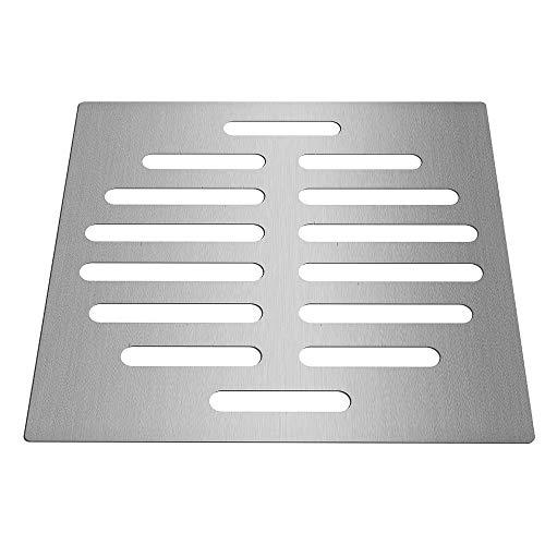 PIJN Bodenablauf Home Bad Zubehör 6 Zoll Silber Ablass Schutz Tone Square Form Edelstahl-Fußboden-Abfluss-Abdeckung (Color : Silver, Size : 6 Inch)