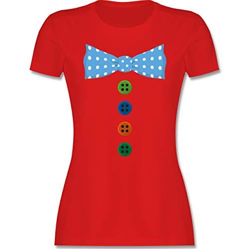 Karneval & Fasching - Clown Kostüm Blaue Fliege - M - Rot - Clown Tshirt - L191 - Tailliertes Tshirt für Damen und Frauen T-Shirt