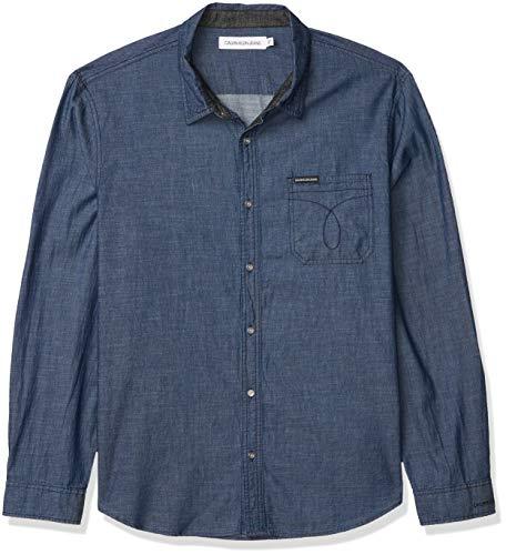 Calvin Klein Long Sleeve Denim Button Down Shirt Camisa con Cuello Abotonado para Hombre