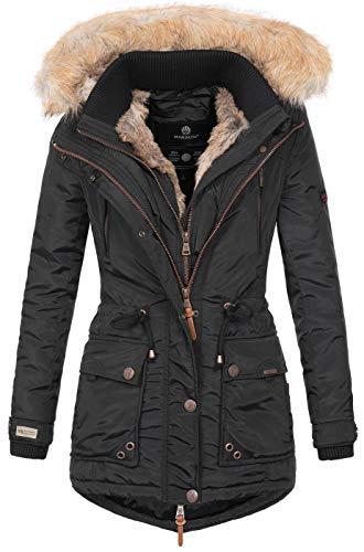 Marikoo Damen Winterjacke Kapuze Kunstfell Winter Jacke warm lang B617 [B617-Grinse-Schwarz-Gr.S]