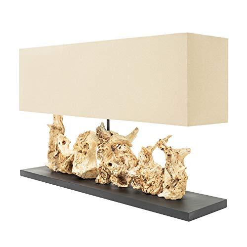 Invicta Interior Natürliche Tischleuchte Pure Unique 80cm beige Wurzelholz Massivholz Tischlampe Wohnzimmerlampe