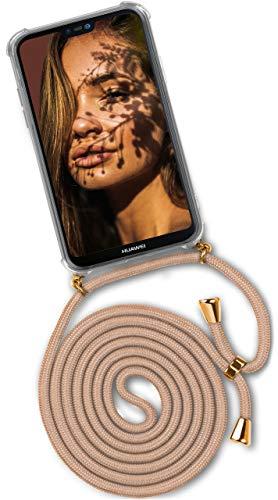 ONEFLOW® Handykette kompatibel mit Huawei P20 Lite - Handyhülle mit Band zum Umhängen Hülle Abnehmbar Smartphone Necklace - Hülle mit Kette, Gold Beige
