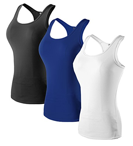 Sport Yoga Tanktops Damen Workout 3 Packs Dry Fit Kompression Running Fitness T-Shirt Schwarz Blau Weiß Tag(XL)=EUR L