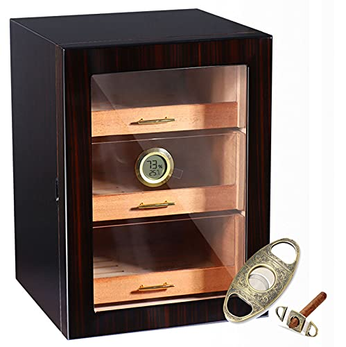 Zigarrenhumidorschrank mit digitalem Hygrometer für 100 bis 200 Zigarren, Zigarrenkiste mit 3 größeren Schubladen und Luftbefeuchtern, Zigarrenhumidorpakete mit Zigarrenschneider