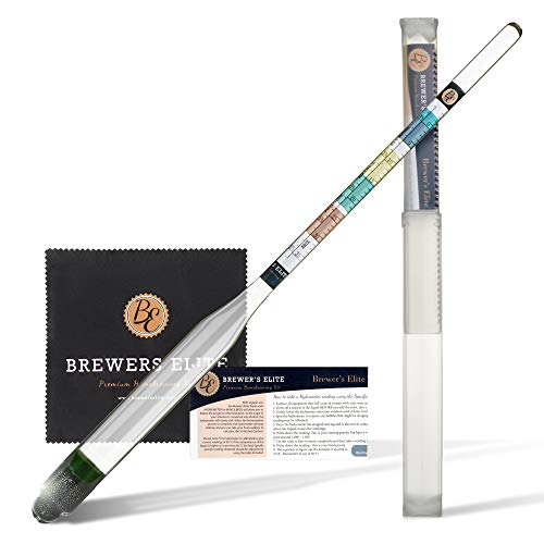 Brewer's Elite Hydrometer - for Home Brew Beer, Wine, Mead and Kombucha - Deluxe...