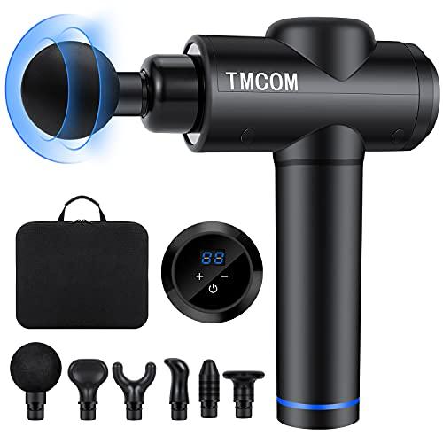 TMCOM Massagepistole Massage Gun Massagegerät Elektrisch Muskelmassagepistole 30 Geschwindigkeiten Handmassagegerät Muskelmassagepistole mit 6 Massageköpfen für...