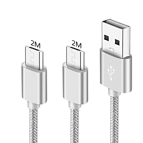 Cavo Micro Usb 2 Metri Per Huawei P10 Lite/P9 Lite/P8 Lite 2017 2018,P Smart 2019,Mate 10 Lite,Honor View 10 Lite,Honor 9 Lite/7X 7S 7C 7 6X 6 5C 5X,Y5 Y6 Y7 ii,Cavetto/Caricabatterie Ri-Carica Rapida
