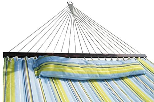SueSport HC011-Blue(16-4020) Blue/Light Green Hammock Quilted Fabric with Pillow Double Size...