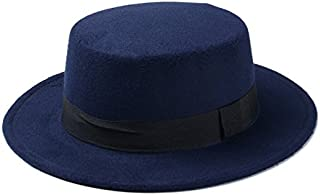 Wool Pork Pie Boater Flat Top Hat for Women's Men's Felt Wide Brim Fedora Gambler Hat (Color : Dark Blue, Size : 57-58cm)