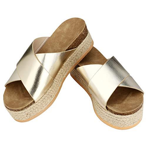 Damen Espadrilles Sandalen Öffnen Sie die Zehenrutsche Criss Cross Nieten Plateausandalen Sommer Nieten Hausschuhe Flatform Sandalen (36 EU, Gold)