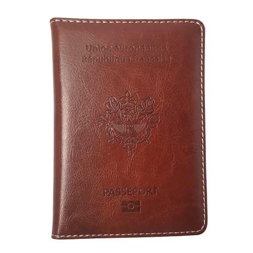 Porte Passeport Housse Protège Passeports Cuir Pochette étui pour Passeport Voyage Protection Housse de Passeport (Marron)
