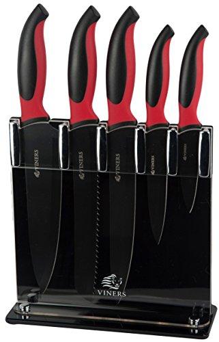 Viners, ceppo per coltelli con set di 5 coltelli in acciaio inox con superficie antiaderente, stile moderno, colore: nero e rosso
