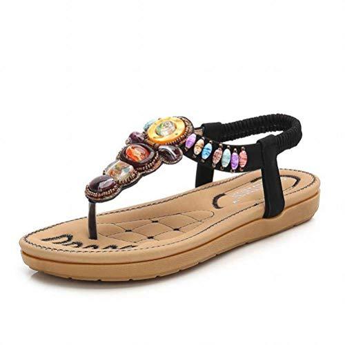 Women Sandals Summer Bohemiafemale Sandales à Tête Ronde Couleur Diamant String Sandales à Fond Plat Chaussures de Vacances, Black, 38