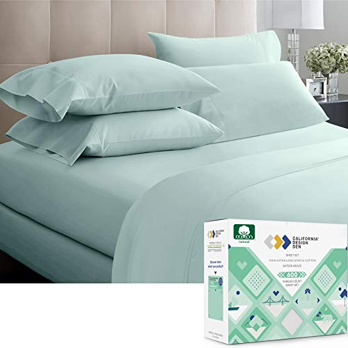 California Design Den 600 Thread Count Best Bed Sheets 100% Cotton Sheets Set - Long-Staple Cotton Sheet (California King, Seafoam Spa)