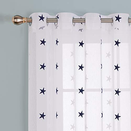 Deconovo - Cortina Decorativa con Bordados, Voile, Aspecto de Lino, Tela, Azul, 245 x 140 cm