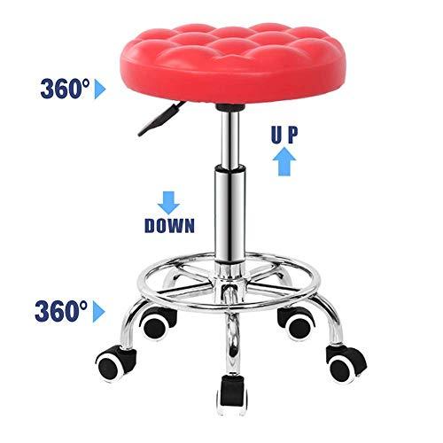 SXRDZ Barra Ascensor taburetes Giratorio sillas Alto Altura Ajustable 360 ° Cocina ergonómica Desayuno Desayuno Beau Salon peluquería manicura taburetes-Rojo (Color : Red)