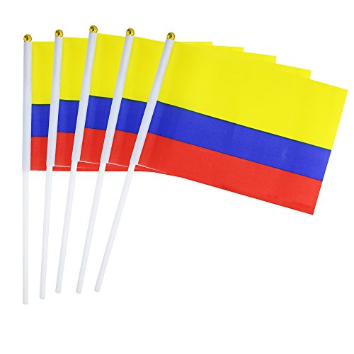 25 Pack Hand Held Small Mini Flag Colombia Flag Colombian Flag Stick Flag Round Top National Country Flags,Party Decorations Supplies For Parades,World Cup,Festival Events ,International Festival