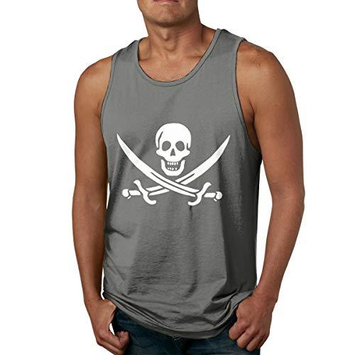 Abigails Home Drapeau de Pirate et Le crâne Mens débardeur Chemises sans Manches t-Shirt de Sport de Basket-Ball t-Shirts de Remise en Forme en Plein air(3XL,Deep Heather)