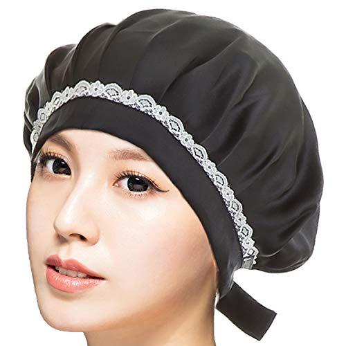RUPORXシルクナイトキャップ天然シルク100%ロングヘア通気性抜群高品質ヘアキャップ(ブラック)