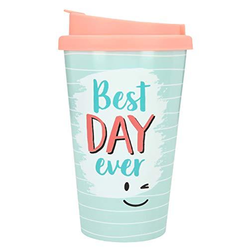 Depesche 2180.004 to-Go Becher aus Kunststoff mit Spruch, 350 ml, Best Day Ever, Mehrfarbig