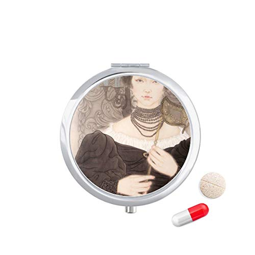DIYthinker zwart masker schoonheid Chinese schilderij Travel Pocket Pill Case Medicine Drug Opbergdoos Dispenser Spiegel Gift
