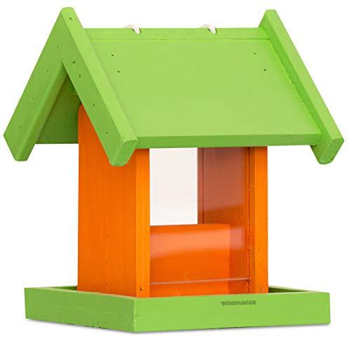 Windhager Vogelfuttersilo PANORAMA, Vogelhaus Futtersilo Futterspender, kompakte Vogelfutterstation für kleinen Platzbedarf, 17 x 17 x 23,5 cm, 06994