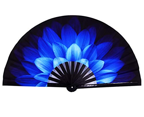 Amajiji Large Folding Fan, Rave Festival Accessories for Men/Women, Chinease/Japanese Bamboo Hand Fan, Performance Decoration Gift Dance Handheld Fan (Blue Flowers)