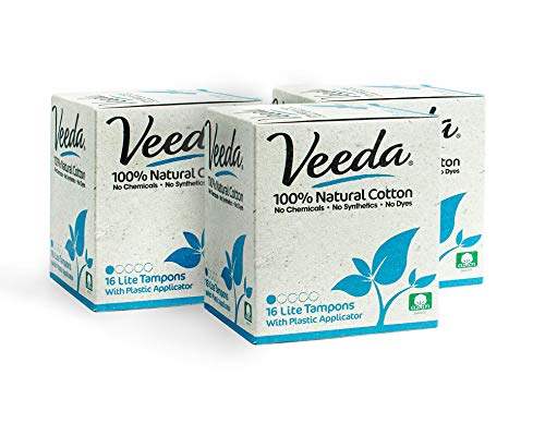 Veeda 100% Natural Cotton Compact BPA-Free Applicator Tampons Chlorine, Toxin and Pesticide Free, Lite, 16 Count (Pack of 3)