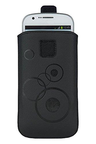 Handytasche Circle schwarz geeignet für Cyrus CS28 Hipster- Handy Tasche Schutz Hülle Slim Case Cover Etui mit Klettverschluss