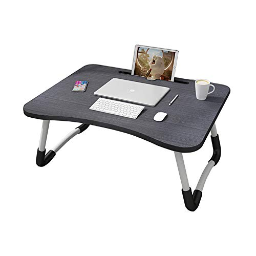 MemeHo® Smart Multi-Purpose Laptop Table with Dock Stand/Study Table/Bed Table/Foldable and Portable/Ergonomic & Rounded Edges/Non-Slip Legs(Black)