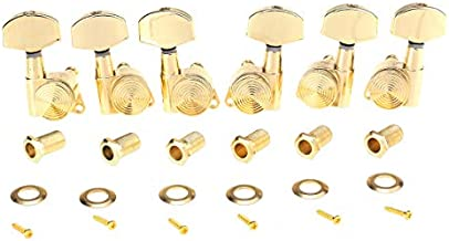 Musiclily Ultra 3L3R 19:1 Ratio Guitar Locking Tuners Tuning Pegs Keys Machines Heads Set Compatible with Les Paul Style Electric or Acoustic Guitar, Gold